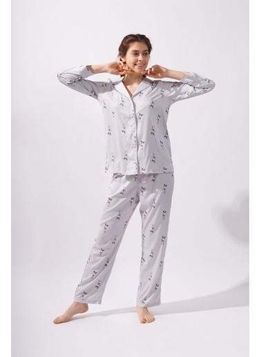 Katia & Bony Teddy Bear Kadın Saten  Pijama Altı -Gri Gri
